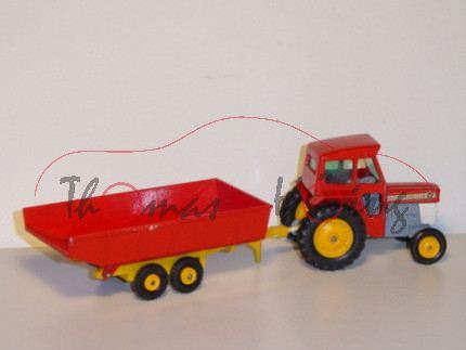 Massey Ferguson 55 Tractor & Trailer, rot/grau/chromgelb, Matchbox King Size, mb