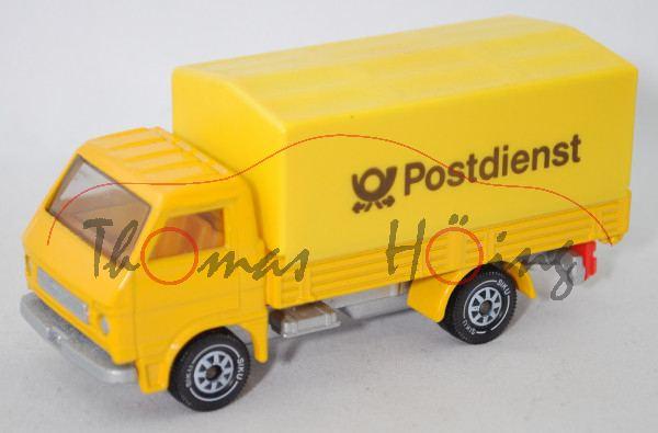 MAN-VW 9.136 F LKW (G90, Mod. 79-87) mit Pritsche+geschl. Plane (1 abgebr. Stift), gelb, Postdienst