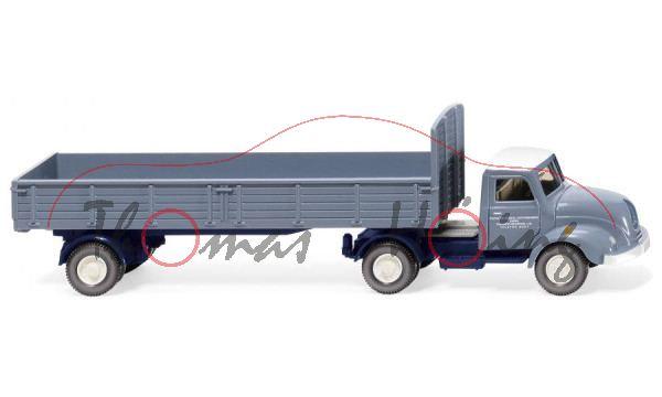 Magirus S 3500 (Mod. 52-55) Pritschensattelzug, blau, PORSCHE-DIESEL - MOTORENBAU, Wiking, 1:87, mb