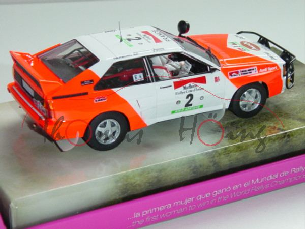 Audi Quattro, weiß/tagesleuchtfarbe, Rallye Cote d\'Ivoire 1982, Mouton/Pons, Nr. 2, Fly Lady Racers