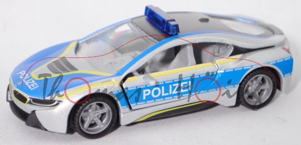00000 BMW i8 Coupé LCI (Typ I12, Facelift, Modell 2018-) Polizei, silber, SIKU, 1:50, L17mpK