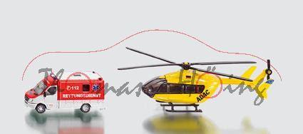 Rettungsdienst-Set bestehend aus Mercedes Sprinter und Hubschrauber, weiß/leuchtrot und gelb, C 112