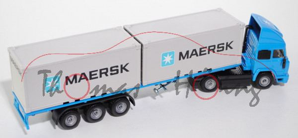 00801 Iveco TurboStar Container-LKW, himmelblau/schwarz, MAERSK, mit 2 Achsen beim LKW, L14n, DK