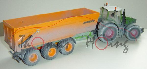 Fendt 936 Vario mit Dreiachs-Muldenkipper JOSKIN Baustellenkombination, mit Fahrer, resedagrün/grau