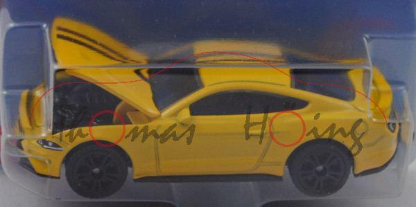 00000 Ford Mustang GT, gelb, Motorhaube zu öffnen, B49 geschlossen schwarz, SIKU, P29e