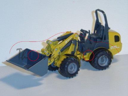 80400 WEIDEMANN 1770 CX50 Hoftrac mit ROPS-Überrollbügel (Modell 2009-2012), maisgelb/eisengrau/matt