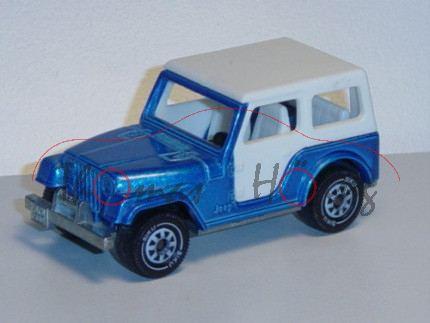 Jeep CJ-7, Modell 1976-1986, verkehrsblaumetallic, IE weiß, Verdeck weiß, Germ, B5