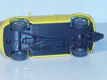 VW New Beetle 2.0 (Typ 9C), Modell 1998-2001, verkehrsgelb, mit AHK, neue Räder, Modell geschraubt