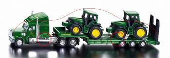 Tieflader mit John Deere Traktoren, grün/gelb, 1:87, P29
