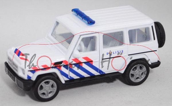 00301 NL Mercedes-Benz G 65 AMG (Mod. 12-15) Politie, weiß, POLITIE, flache Blaulichtleiste, L17mpK