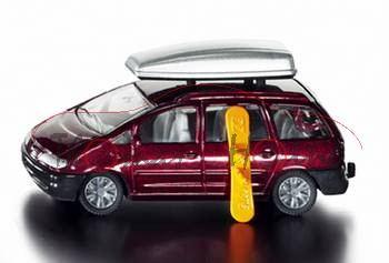 00001 VW Sharan mit Dachbox, weinrot, innen grau, Lenkrad grau, P28a