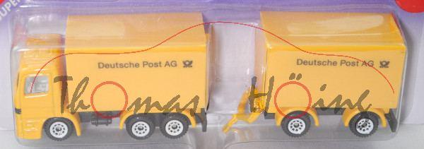 00000 Mercedes-Benz Actros S (1. Gen., MP1, Mod. 96-02) Koffer-LKW mit Anhänger, gelb, P26 offen