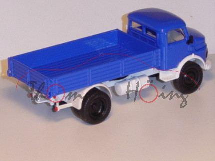 00402 Mercedes Rundhauber mit Pritsche, ultramarinblau, Chassis weiß, Felgen schwarz, L17 (Sondermod