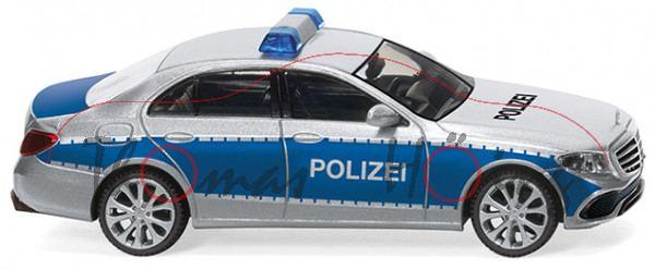 Mercedes-Benz E-Klasse W213 Polizei Limousine Silber Blau Ab 2016 ca 1//43 1//36-1