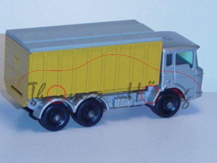 DAF Tipper Container Truck, silbergraumetallic/chromgelb, Aufbau kippbar, Containerabdeckung abnehmb