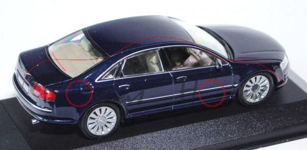 Audi A8 (D3, Typ 4E), Modell 2002-2005, dunkelblaumetallic, Verkauf an Großkunden, Minichamps, 1:43,