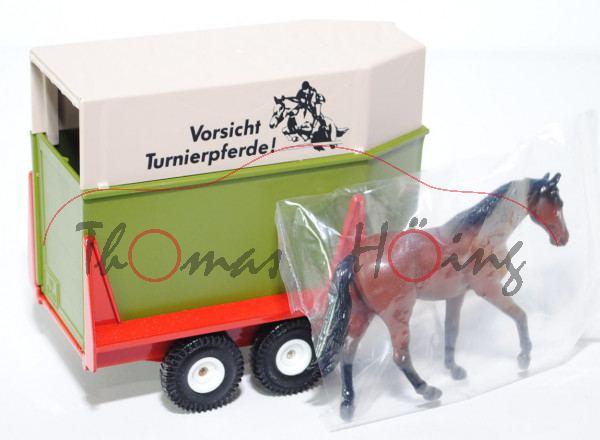 Westfalia-Tiertransporter, farngrün/verkehrsrot, Vorsicht / Turnierpferde!, mit Pferd und Verdeck, L
