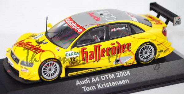 Audi A4 DTM 2004 (B6, Typ 8E2 / R11), gelb, DTM 2004, Tom Kristensen, Nr. 12, Minichamps, 1:43, mb