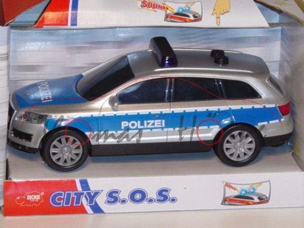 Audi Q7, Mj. 05, silber/blau, POLIZEI, mit Friktionsmotor, mit Licht und Sound, DICKIE, 1:32, mb