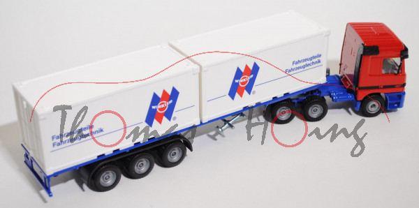 Mercedes Actros 1857 Container-LKW, verkehrsrot/ultramarinblau, WINKLER ® / Fahrzeugteile / Fahrzeug