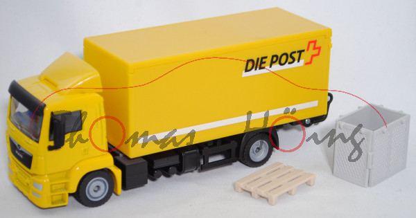 03901 CH MAN TGS (Mod. 13-17) Koffer-LKW mit Ladebordwand, gelb, DIE POST/LA POSTE, SIKU, L17mpK
