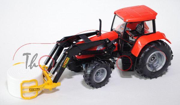 Case CS 150 Traktor mit Folienballenzange, verkehrsrot/schwarz, L17P