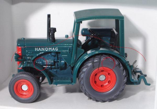 00001 Hanomag R 45 (Modell 1950-1957), blaugrün, Grill rot mit Druck HANOMAG, Sitz schwarz, Lenkrad
