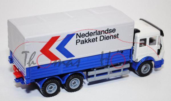 00300 Mercedes SK LKW mit Plane, cremeweiß/ultramarinblau, Nederlandse / Pakket Dienst, LKW12, L15,
