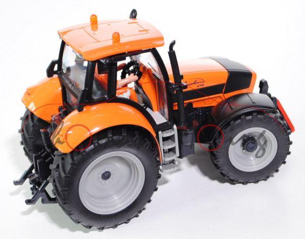00404 DEUTZ-FAHR Agrotron 210 Traktor (Typ MK4, Modell 2003-2004), hellrotorange/mattschwarz/schwarz