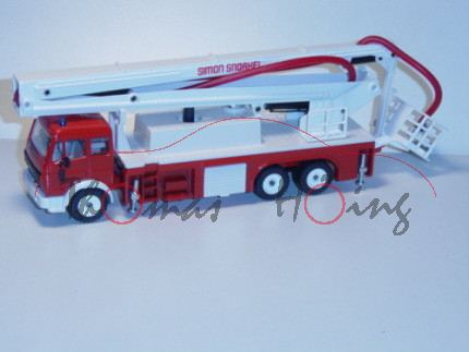 00600 Mercedes SK Feuerwehr mit Gelenkbühne, verkehrsrot/reinweiß, SIMON SNORKEL, 2 kurze Blaulichte