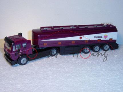 Mercedes TOPAS-Tankzug, purpurviolett/schwarz, M MINOL, LKW12