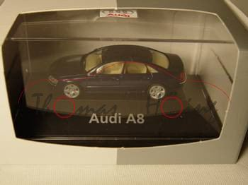 Audi A8 (D3, Typ 4E), Modell 2002-2005, dunkelblaumetallic, Herpa, 1:87, PC-Box