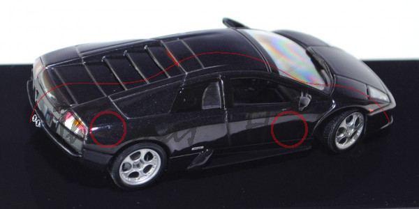Lamborghini Murciélago, Modell 2001-2006, schwarzmetallic, AUTOart, 1:43, PC-Box (Deckel gesprungen)