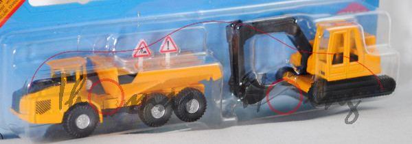 00000 Knickgelenkter Volvo-Dumper A40D 6x6 (Mod. 00-07) mit Bagger, Dumper: chromgelb/schwarz, C42 s