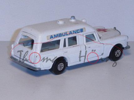 Mercedes Benz Binz Ambulance, weiß, Aufkleber rotes Kreuz auf der Motorhaube, Aufkleber AMBULANCE au