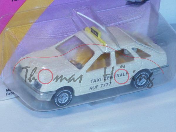 Ford Sierra 2.3 Ghia Taxi, Modell 1982-1984, hellelfenbein, innen gelb, Lenkrad schwarz, Antenne wei