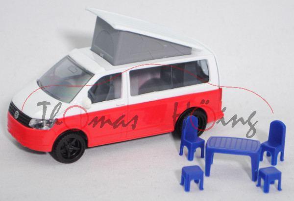 00000 VW T6 California, weiß/rot, Zubehör: 1 Tisch und 4 Stühle, SIKU SUPER, L17mpK