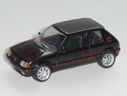 Peugeot 205 GTI, Modell 1984-1995, schwarz, 1:54, Norev RETRO, mb