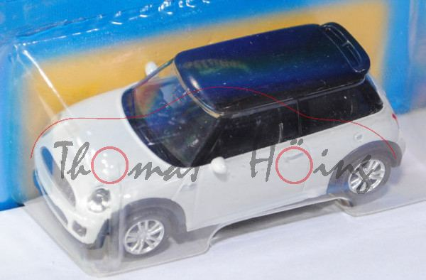 Mini Cooper S JCW (R53), reinweiß/schwarz, innen schwarz, Free Wheel, Unifortune RMZ City, 1:53 (3 i