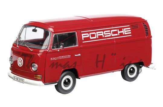 VW T2a Kasten, Modell 1967-1971, karminrot, PORSCHE, Schuco, 1:18, mb