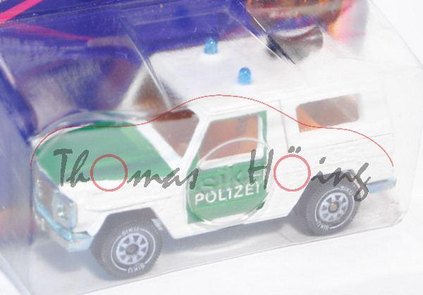 Mercedes-Benz 280 GE (Typ W 460, Modell 1980-1990) Polizei-Geländewagen, reinweiß/minzgrün, innen da