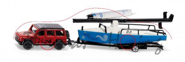 00000 Mercedes-Benz G 65 AMG mit Einachs-Bootstrailer und Segelboot, ca. 1:50 / 1:55, L17mpK