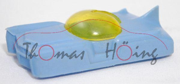 Atom-Auto, dunkel-pastellblau, abnehmbare gelbe Glaskanzel, blaugrüne Plastikräder, Manurba-Plastik