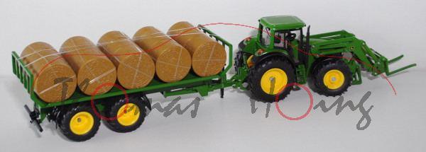 John Deere 6920 Traktor mit Rundballenanhänger, smaragdgrün, L16nmK