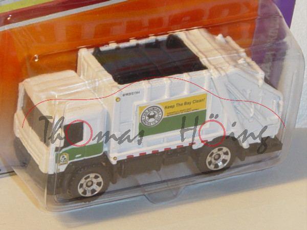 Garbago Truck Trash King Müllwagen, reinweiß/schwarz, Keep The Bay Clean, Matchbox, Blister