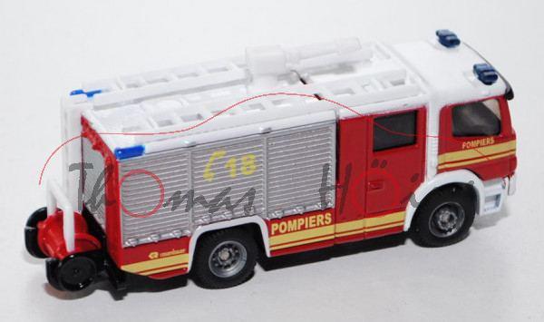 00100 Mercedes Feuerwehr Tanklöschfahrzeug, karminrot/reinweiß, POMPIERS / C18 / POMPIERS R rosenbau