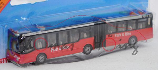 00001 MAN NG 312 Niederflurgelenkbus (Typ MAN A11, Modell 1995-1999), schwarz/hell-signalrot, innen