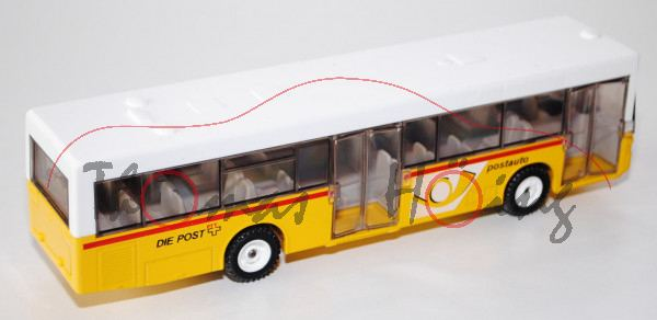 03901 Linienbus Mercedes O 405 N, reinweiß/kadmiumgelb, postauto DIE POST PTT, L14n, CH