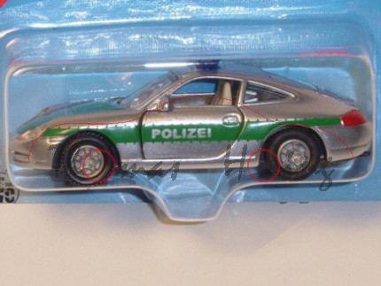 00004 Porsche 911 Carrera (Typ 996) Autobahn-Streifenwagen, Modell 1997-2001, chromsilber/minzgrün,