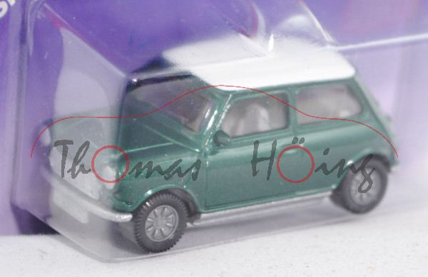 00000 Mini Cooper (Typ MK VI, Modell 1992-1996), moosgrünmetallic, Dach reinweiß, innen grauweiß, Le